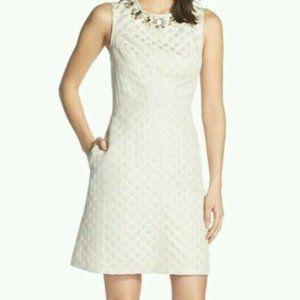 Eliza J Embellished Jacquard  A-Line Dress